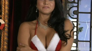 christmas big tits video Sunny Leone in her Undies with her Tits out Posing