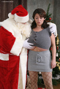 santa claus and milena velba with massive Boobs meeting Ho Ho Ho
