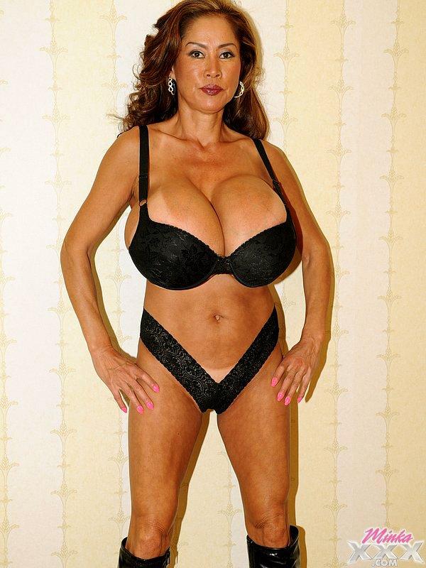 Brunette milf with giant fake tits 54KKK Minka