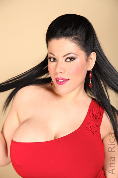 Lady in Red – new photo set with big-bust model Ana Rica