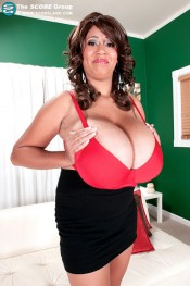 debut model Roxi Red in red bra