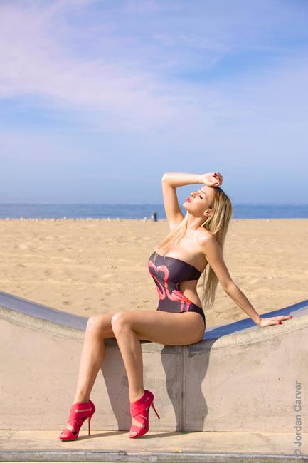 Awesome blonde Jordan Carver in Flamingo Kiss