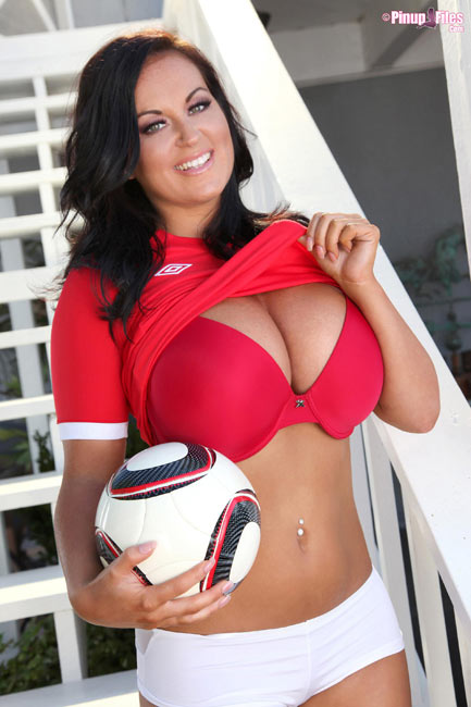 England 2busty model and football fan Sarah Randall