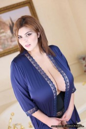 xenia wood in an open robe