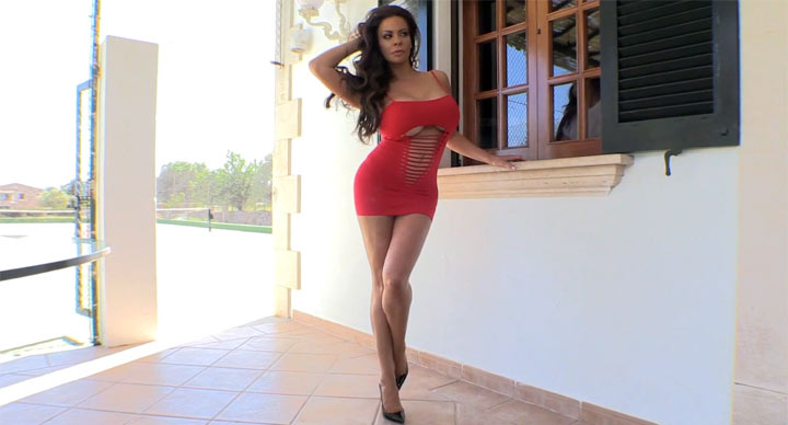 Linsey Dawn McKenzie in Red Stretch Dress