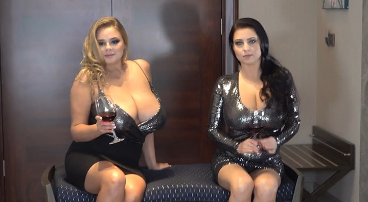 Vivian Blush and Ewa Sonnet in Bold Busty Wine Drinkers